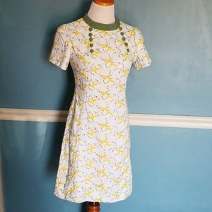 Vintage 1960's White Embroidered Dress S